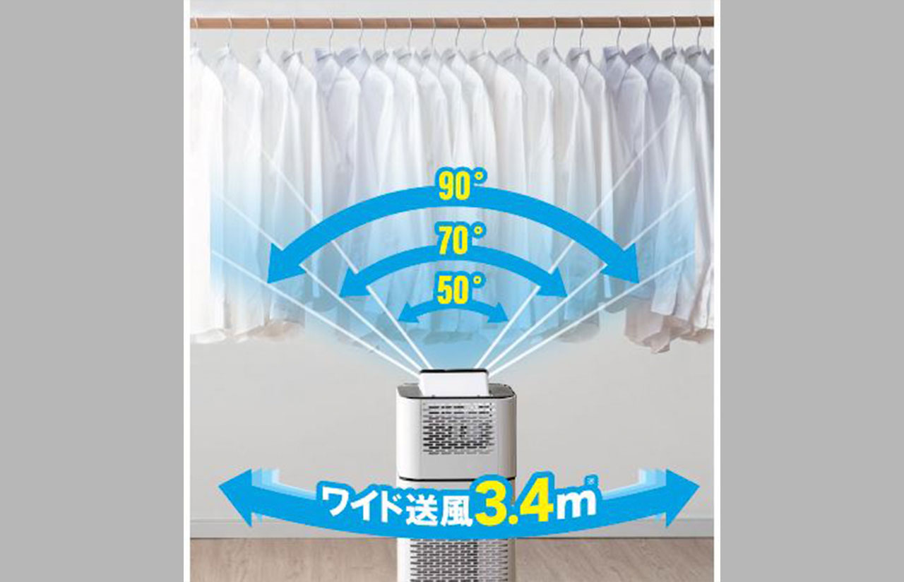 サーキュレーター衣類乾燥除湿機の首振り機能